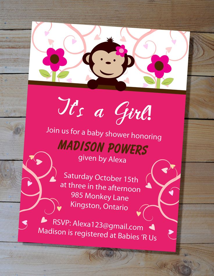 jungle theme baby shower invitation sayings%0A Baby shower invitation it s a girl pink mod monkey printable baby