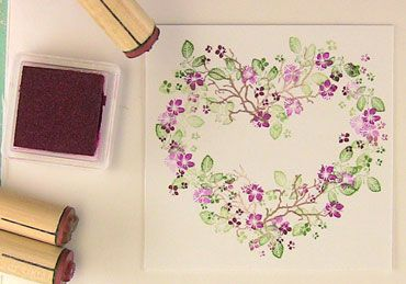 Rubber Stamp Tapestry Cherry Blossoms Set Tutorial. Not sure if I have this particular set but you could use this heart technique with almost all of their wonderful stamp sets. LINK NO LONGER WORKS - they seem to have closed down their blog. 3/23/17