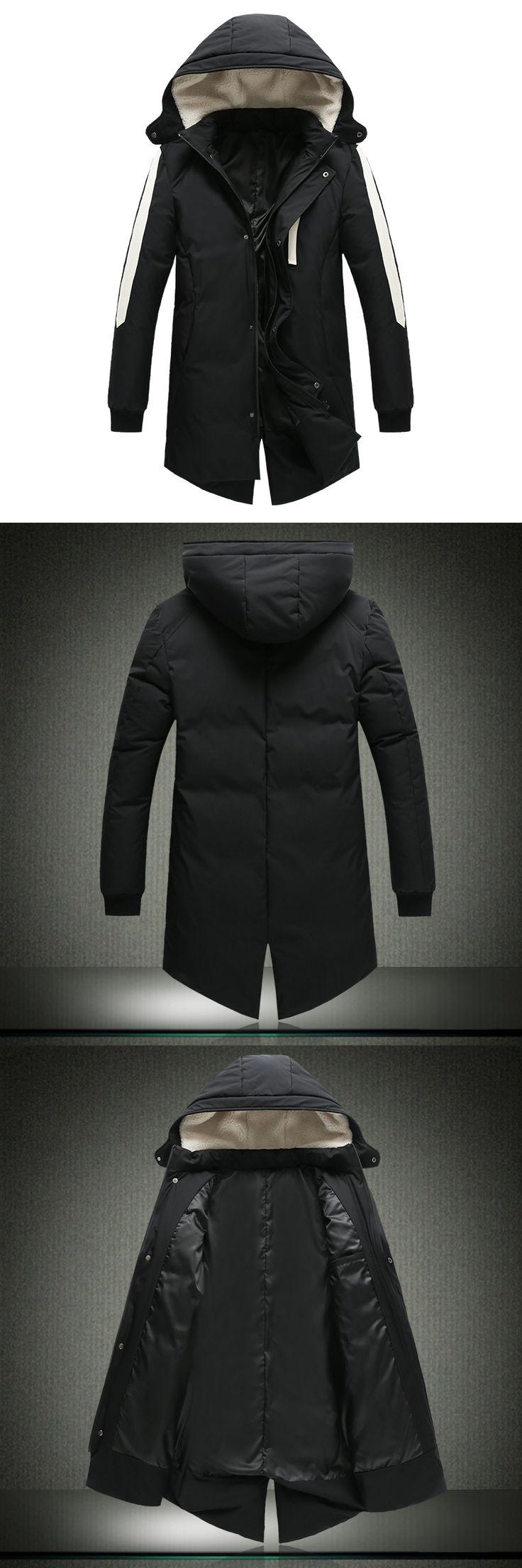 Hot Sale Men Jackets Parkas Long Warm Thick Men  Plus Size M-XXXL Slim Fits Men Winter Coats Black New Fashion Men Jackets