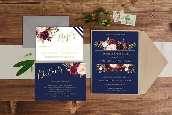DIY Printable Gold, Navy Blue and Burgundy Watercolour Floral Wedding Invitation Main Invitation | Details | RSVP