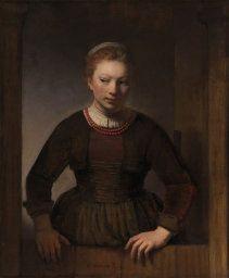 """Rembrandt van Rijn """"Young Woman at an Open Half Door"""" Art Institute of Chicago She's wondering where to start..."""