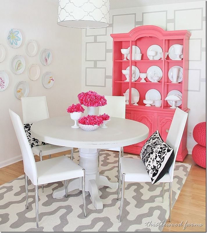 Painted Wall Treatment Idea On A Budget Pink Dining RoomsColorful