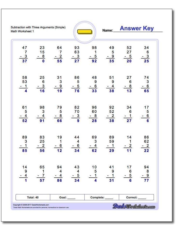 145 best Subtraction Worksheets images on Pinterest | Subtraction ...