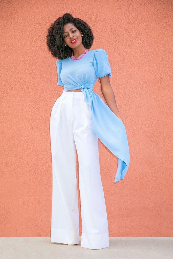 Style Pantry | Knotted Crop Top + High Waist Pleated Pants