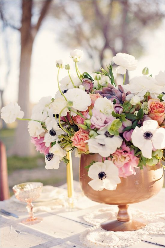 peach, purple, pink and white floral centerpieces by @Catherine Thompson as featured on @wedding chicks