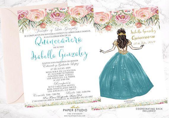 Quince Invitation 15 Años Invitation Floral Invitation Quinceanera Princess Invitation Personalized Invite Teal Invite Sweet 16  BDQ009