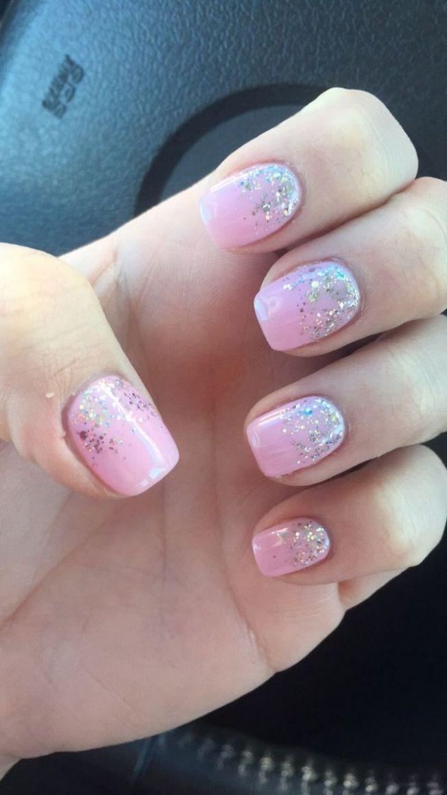 20 Coffin Nails Short Natural Glitter 38 Bobayule Com Baby Pink Nails Baby Pink Nails With Glitter Short Coffin Nails