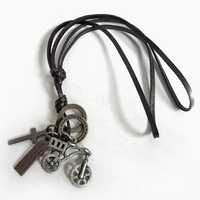Jewelry leather necklace women necklace men necklace with brown Leather and alloy bicycle pendant adiustable necklace XL-238