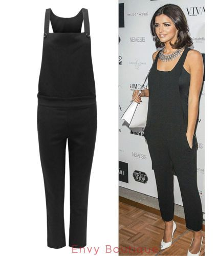 LADIES WOMENS CELEBRITY DUNGAREE PINAFORE TAILORED JUMPSUIT TROUSERS PANTS 8-14 | eBay