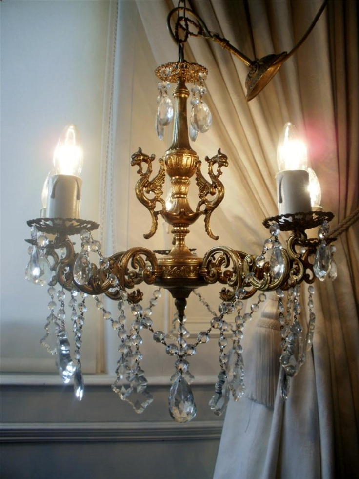 773 best french candelabras chandeliers images on pinterest vintage french bronze griffin crystal chandelier aloadofball Images
