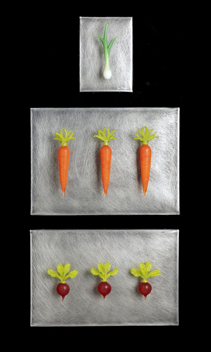 Art Glass, 'Root Vegetables Grouping', Hand blown glass vegetables on distressed stainless steel.