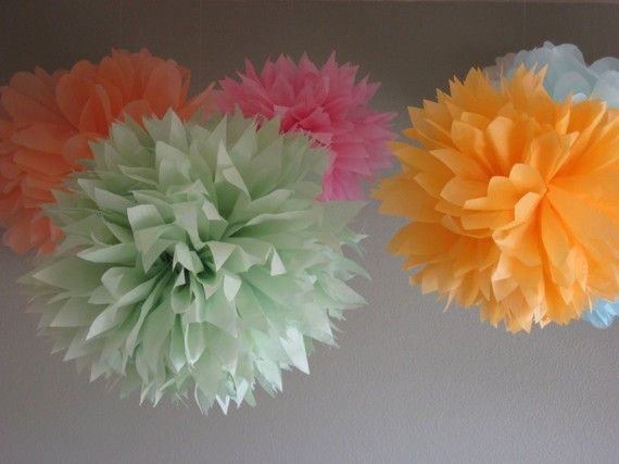 20 Tissue Pom Kit  mixes sizes  Pick your colors baby shower decoration