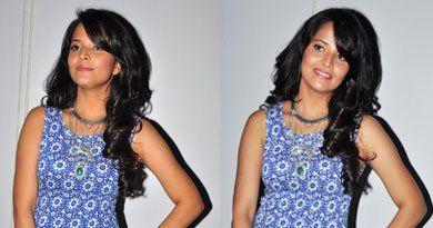 Anchor Anasuya Latest Hot Sleevless Blue Dress