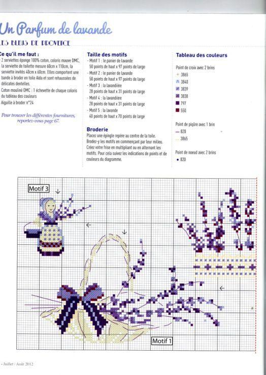 0 point de croix grille et couleurs de fils provence lavande partie 1