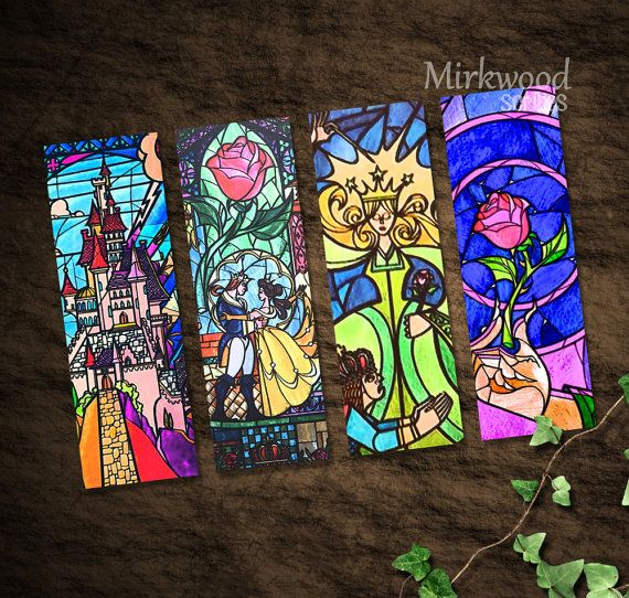 Beauty and the Beast Stained Glass Bookmarks   por MirkwoodScribes