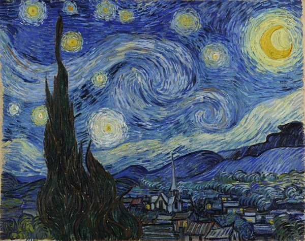 """""""A Noite Estrelada"""",  Van Gogh A obra foi criada pelo artista quando ele tinha 37 anos, enquanto ele esteve em um asilo de Saint-Rémy-de-Provence Durante sua estadia no asilo,  dedicou-se a pintar sobre todas as paisagens da região de Provence,quando o artista rompe com o se poderia chamar de fase impressionista e desenvolve um estilo particular, no qual prevalecem fortes cores primárias, como o amarelo, para as quais Van Gogh atribuia significados próprios. Onde ver: Museu de Arte…"""