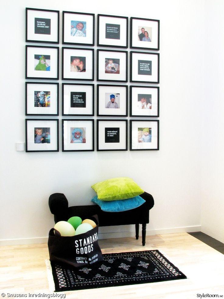 tavlor,tavelvägg,foton,citat,pall,åhlens,tygkorg,förvaringskorg,hm home,kuddar,svart,vitt,blått,grönt