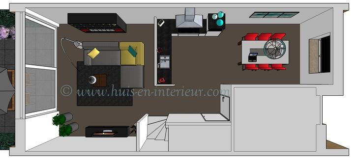 ibbA Almere - ontwerp 2 - de keuken in het midden van de woning en een aparte eetkamer