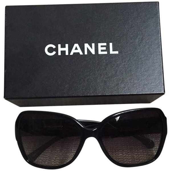 Pre-owned Chanel Sunglasses ($264) ❤ liked on Polyvore featuring accessories, eyewear, sunglasses, glasses, chanel, black, chanel glasses, chanel sunglasses and chanel eyewear