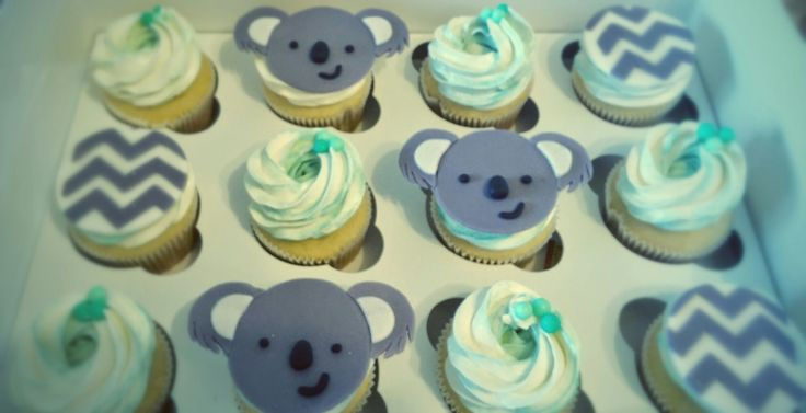 koala, chevron and turquoise theme babt shower cupcakes
