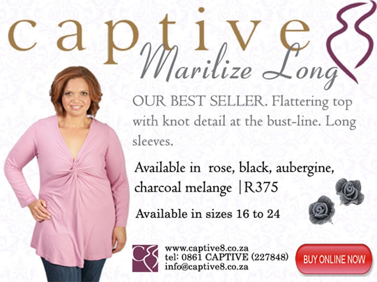 Captive8's best seller - the Marilize long - with its stylish knot detail perfectly flatters the fuller figure #plussizestyle