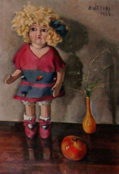 """Albano Vitturi Italian """"Still-life with Doll"""" Signed - Dated 1925 - Oil on Cardboard - dimensions 51cm x 36cm Price and detailed documentation available on request View online : http://maartenpeutz.co.za/catalogue/art-catalogue.htm #maartenpeutzonline"""