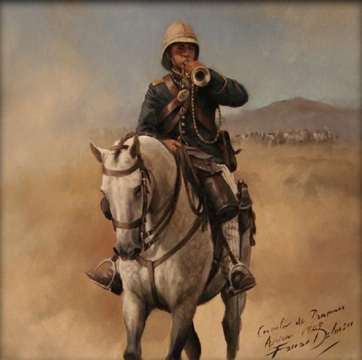 Trompeta de Dragones 1909, obra de Augusto Ferrer-Dalmau. Pequeño cuadro de 28x28 cm