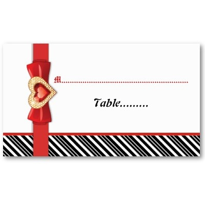 Black White Stripes Amp Red Jewel Wedding Place Card
