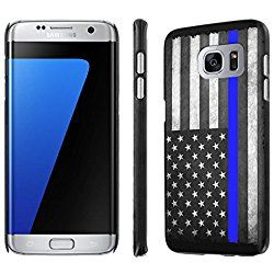 "Galaxy [S7 Edge] [5.5"" Screen] Phone Case [SlickCandy] [Black] Ultra Slim Cover - [Police Blue Line Flag] for Samsung Galaxy [S7 Edge] [GS7 Edge]"