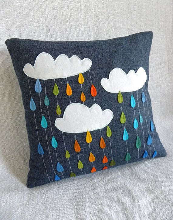 Rainbow showers pillow from krakra craft $31