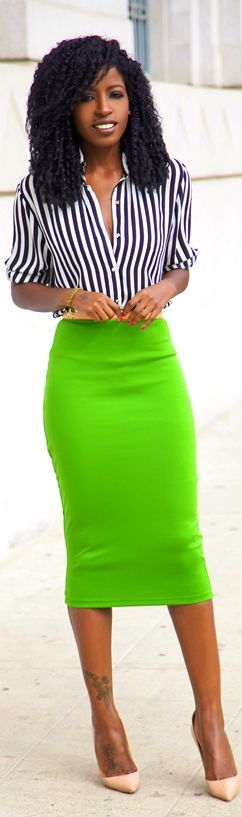 In love with this black and white striped to and lime green pencil skirt! So sexy! Women's spring fashion outfit neon