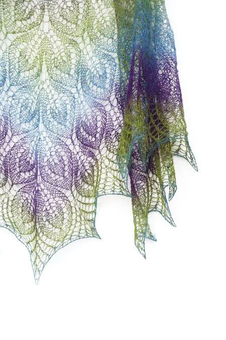 "Peacock hand knit  lace shawl - purple, blue, green spring from Etsy shop, KnittyStories.  Pattern under the name ""Gail"" available on Ravelry. IMHO, this is a glorious example of this pattern!"