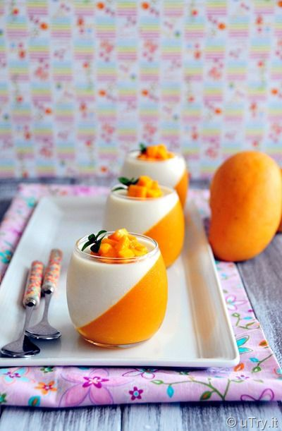 How to Make Mango Panna Cotta with video tutorial. A quick and easy dessert that is perfect for parties. http://uTry.it