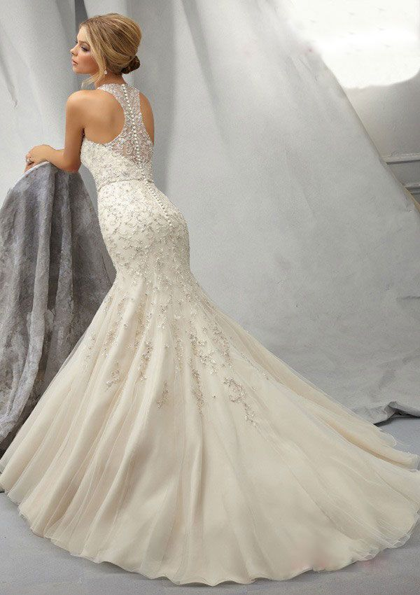 Unique  Elegant Beaded Chiffon Halter Mermaid Wedding Dresses with Chapel Train Lace Back Sleeveless Trumpet Dress