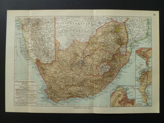 1913 old map of SouthAfrica  antique print union by DecorativeMaps, €12.95