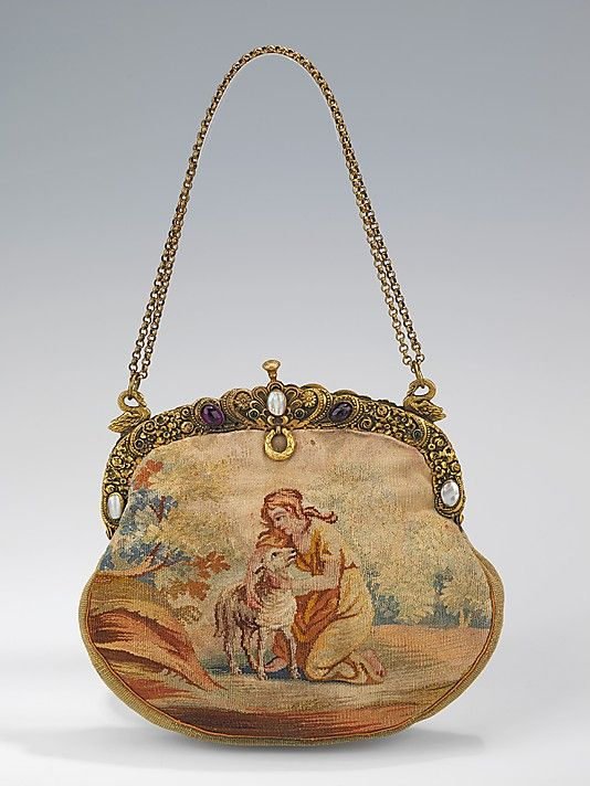 1920-1929, Austria - Evening purse - Wool, metal, glass, shell