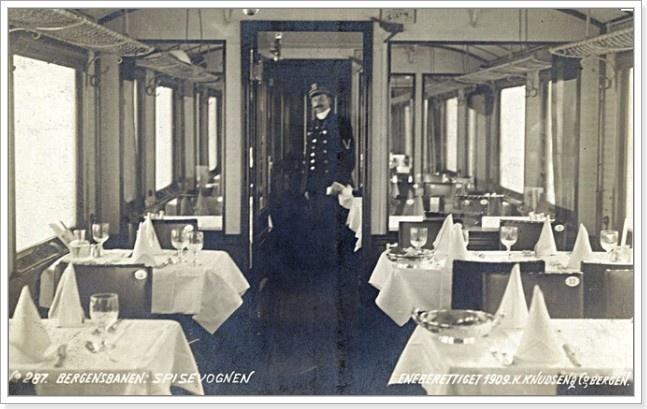 Restaurantvogn på Bergensbanen anno 1909
