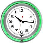 3 in. x 14 in. Green Double Ring Neon Clock, Multi