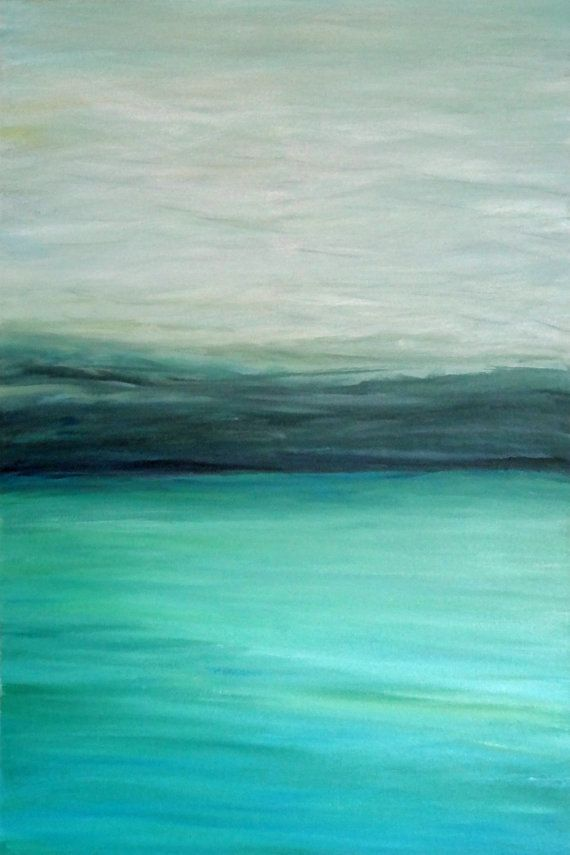 """Turquoise"" - 24"" x 36"" Original abstract modern turquoise blue green gray black ocean seascape acrylic painting"