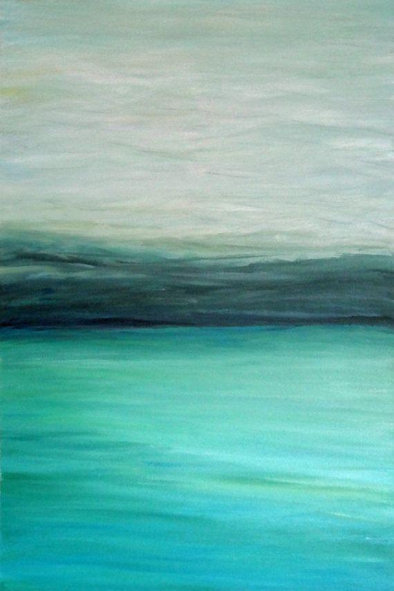 """Abstracto moderno turquesa turquesa océano negro gris verde azul marino pintura acrílica ARTE PRINT - """"Turquesa"""""""