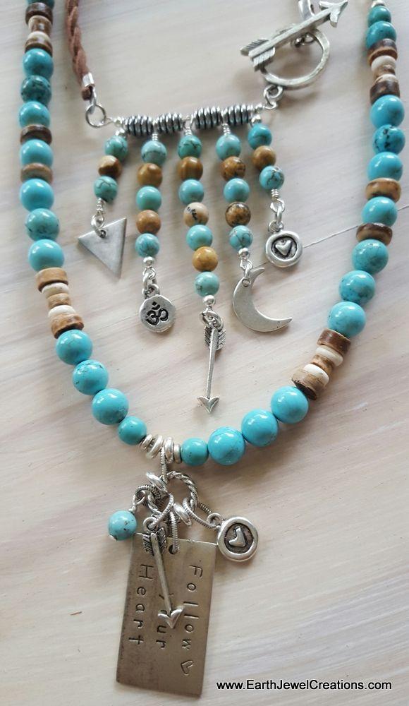 Turquoise gemstone necklace, word jewelry inspiration, crystal jewellery, vegan jewelry