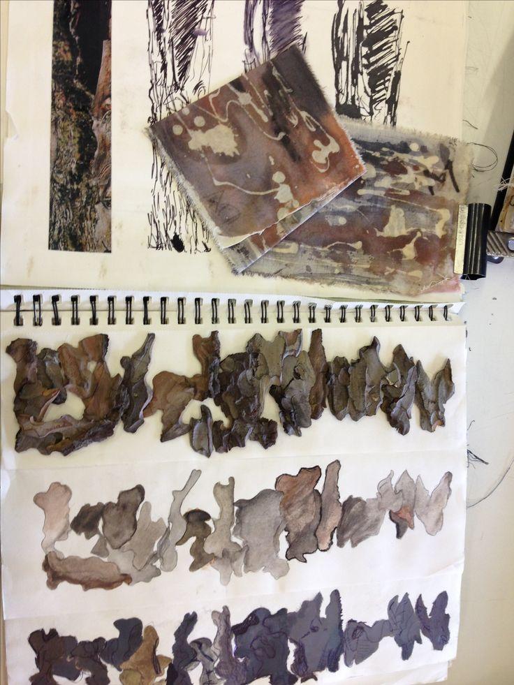 Textiles Sketchbook - surface pattern & texture explorations; art student sketch book