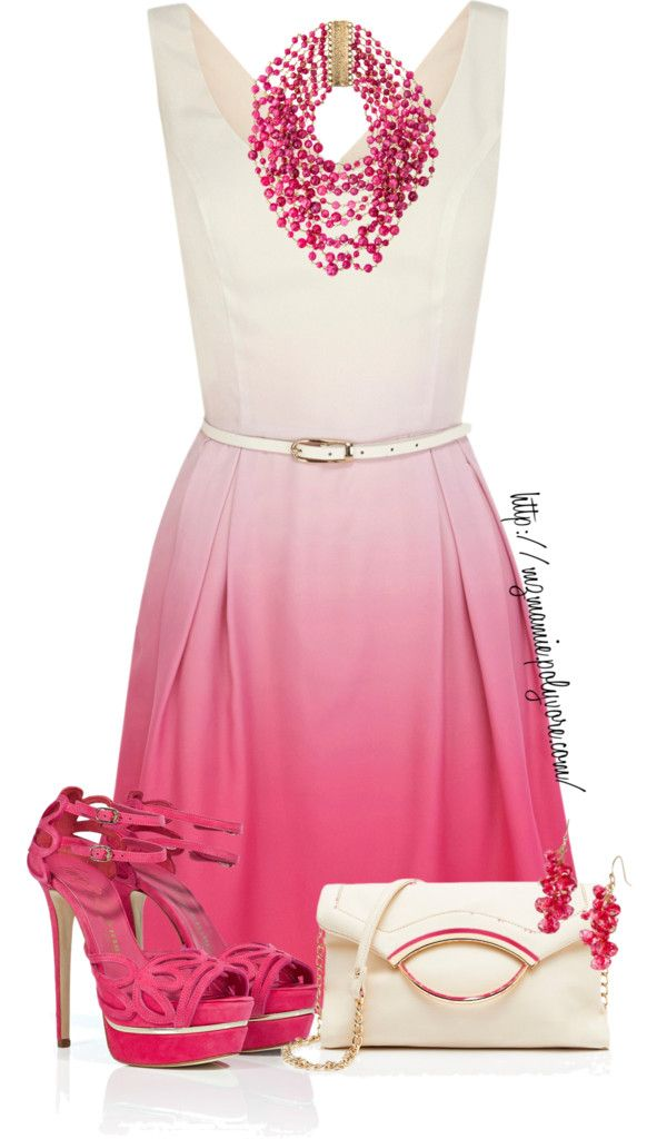 Pink and white dress outfit