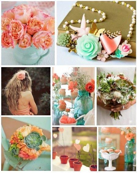 Succulent Green & Coral: Wedding Color, Wedding Ideas, Green, Colors, Color Palette, Mason Jars, Coral Color