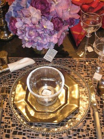 Purple Gold Table Setting Purplewedding