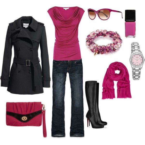 : Date Night, Pink Pink Pink, Dreams Closet, Pink Outfit, Color, Hot Pink, Cute Outfit, Boots, Pink Black
