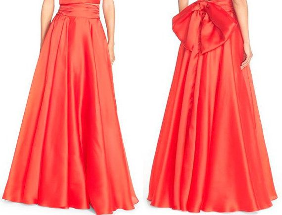 Handgefertigte Damen Satin Maxi Rock mit von MariliaBoutique