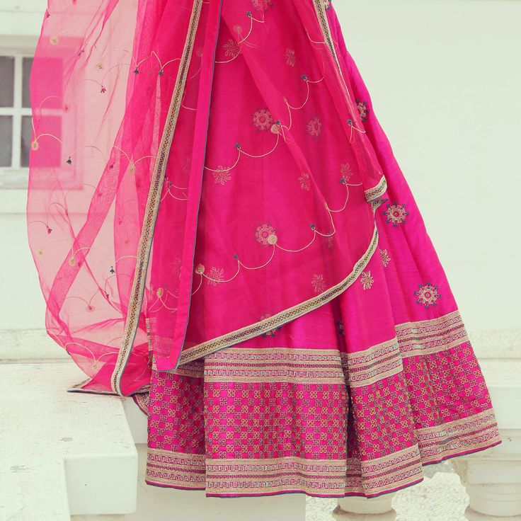 This just in - Our bridal collection Guldasta is now in stores. Pink raw silk lehenga set is a bride's favorite.