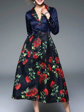 Navy Blue Lapel Floral Long Sleeve Buttoned Midi Dress