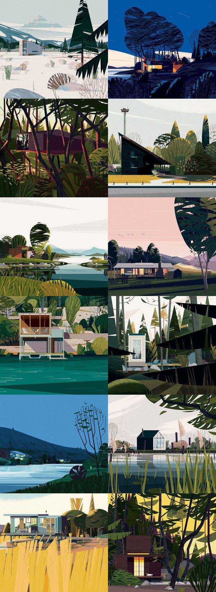 Les cabanes de Cruschiform  Cruchiform, un studio français fondé par Marie-laure Cruschi, a créé les 60 illustrations de cabanes d'architectes qui ouvrent les chapitres d'un livre de Philip Jodidio chez Taschen qui présente le meilleur des cabanes du monde.